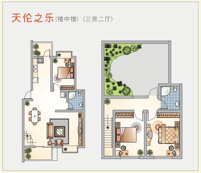 楼中楼三房二厅