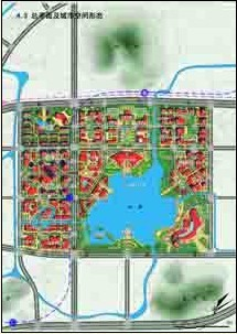 总平面及城市空间形态   土地利用规划图   功能分区:围绕